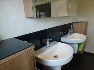 8.03b Glasrückwand Farbe anthrazit in Dusche hinter Waschbecken und auf Möbel rechts und links